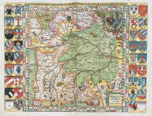 Übersichtskarte der Apianschen Landtafeln mit Blattschnitt und Wappen (Wiedergabe mit freundlicher Genehmigung der Bayerischen Staatsbibliothek)