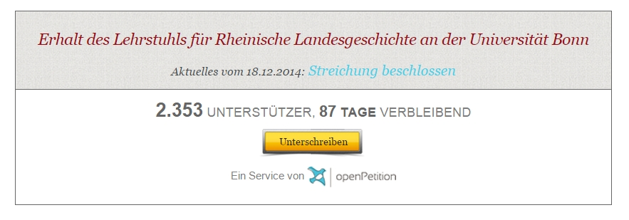 Open Petition Rheinische Landesgeschichte Screenshot