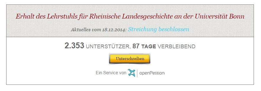 Open Petition Rheinische Landesgeschichte Screenshot